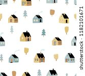 Seamless Pattern With House An...