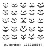 halloween ghost faces. scary... | Shutterstock .eps vector #1182108964
