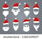 santa hats and beards. vector... | Shutterstock .eps vector #1182109027