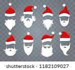 santa hats and beards. vector... | Shutterstock .eps vector #1182109027