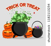 happy halloween. witch cauldron ... | Shutterstock .eps vector #1182113254
