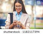 beautiful young businesswoman...   Shutterstock . vector #1182117394