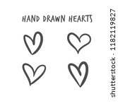 hand drawn hearts  design... | Shutterstock .eps vector #1182119827