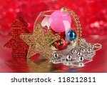 christmas decoration on red... | Shutterstock . vector #118212811