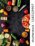 vegetarian food concept. set of ... | Shutterstock . vector #1182129907