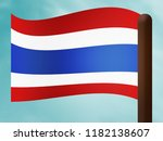 thailand flag above simple... | Shutterstock . vector #1182138607