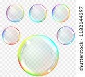 transparent soap bubbles.... | Shutterstock .eps vector #1182144397