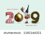 2019 happy new year  numbers... | Shutterstock .eps vector #1182166321