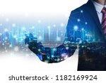 double exposure global network... | Shutterstock . vector #1182169924