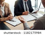 business man explaining about... | Shutterstock . vector #1182175984