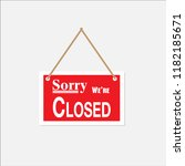 closed store sign vector... | Shutterstock .eps vector #1182185671