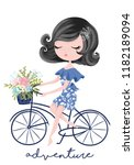 little cute girl with bicycle... | Shutterstock .eps vector #1182189094