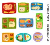 flat vector set of colorful... | Shutterstock .eps vector #1182198607