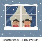 first snow. children looks at...   Shutterstock .eps vector #1182199834