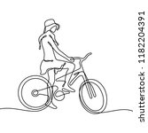 girl on bike continuous line... | Shutterstock .eps vector #1182204391