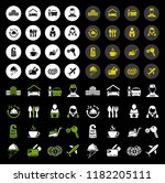 vector travel icons  vacation... | Shutterstock .eps vector #1182205111