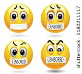 smiling ball with mouth sealed... | Shutterstock .eps vector #1182211117
