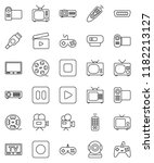 thin line vector icon set  ... | Shutterstock .eps vector #1182213127