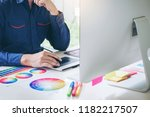 graphic designer drawing on... | Shutterstock . vector #1182217507