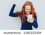 young redhead celebrating good... | Shutterstock . vector #1182222334