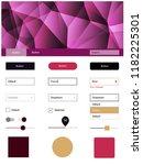 dark pink  yellow vector ui kit ...