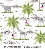 palm trees and flamingo pattern | Shutterstock .eps vector #1182226804