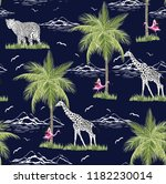 palm trees and flamingo pattern ... | Shutterstock .eps vector #1182230014