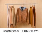 row of women leather coat and... | Shutterstock . vector #1182241594