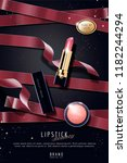 luxury lipstick ads with red... | Shutterstock .eps vector #1182244294
