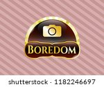 gold emblem with photo camera... | Shutterstock .eps vector #1182246697