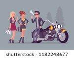 cool rocker boy in a biker... | Shutterstock .eps vector #1182248677