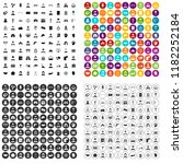 100 wage earner icons set in 4... | Shutterstock . vector #1182252184