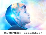 profile of adorable little boy... | Shutterstock . vector #1182266377