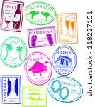 retro honeymoon passport stamps ... | Shutterstock .eps vector #118227151