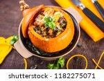 pumpkin stuffed with stew meat... | Shutterstock . vector #1182275071