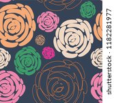 seamless pattern with flowers... | Shutterstock .eps vector #1182281977