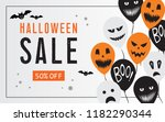 halloween sale web banner with... | Shutterstock .eps vector #1182290344