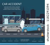 accident with two cars on the... | Shutterstock .eps vector #1182291094