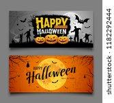 happy halloween party banners... | Shutterstock .eps vector #1182292444