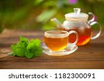 delicious green tea in a... | Shutterstock . vector #1182300091