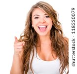 happy woman pointing at the... | Shutterstock . vector #118230079