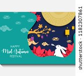mid autumn festival with cutout ... | Shutterstock .eps vector #1182307861