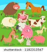 cartoon illustration of farm... | Shutterstock .eps vector #1182313567