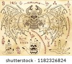 set with demon  gothic symbols... | Shutterstock .eps vector #1182326824