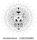 cat muzzle with mystic symbols... | Shutterstock .eps vector #1182326881