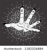 open palm with mystic symbols... | Shutterstock .eps vector #1182326884