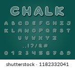 alphabet chalk design. typeface ... | Shutterstock .eps vector #1182332041