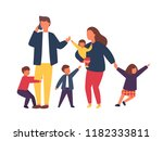 family with kids. tired parents ... | Shutterstock .eps vector #1182333811