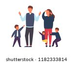 family with kids. tired parents ... | Shutterstock .eps vector #1182333814