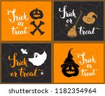 halloween greeting cards set.... | Shutterstock .eps vector #1182354964